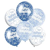 "Blue and White Shiny Glitz Classy Happy Birthday 12"" Latex Balloons Mix - 6 in each pack - Boys birthdays supplies, all ages, party, special occasion"