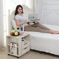 Emall Life Functional Swivel Bedside Table Adjustable Wooden Nightstand with Drawers, Wheels and Open Shelf (White Maple)
