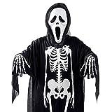 3er Set Erwachsene Halloween Kostüme schreiende Geist Totenkopf Maske, Mantel+Handschuhe mit Skelett Motiv für Erwachsene