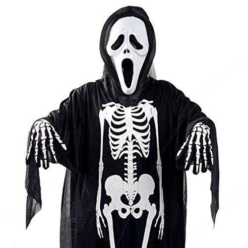 3er Set Erwachsene Halloween Kostüme schreiende Geist Totenkopf Maske, Mantel+Handschuhe mit Skelett Motiv für (Kostüme Paare Passende Halloween)