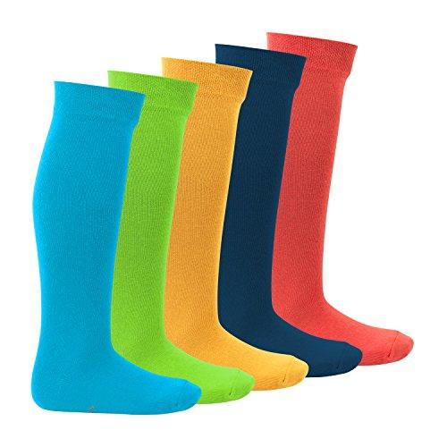 Footstar 5 Paar EVERYDAY! KIDS Kinder Kniestrümpfe für Mädchen & Jungen - Trendfarben Gr. 27-30