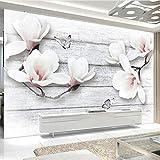 Hwhz Foto Wallpaper 3D Stereo Magnolia Fiori Farfalla Legno Grano Murales Salotto Tv Divano Sfondo Parete Home Decor Carta Da Parati-200X140Cm