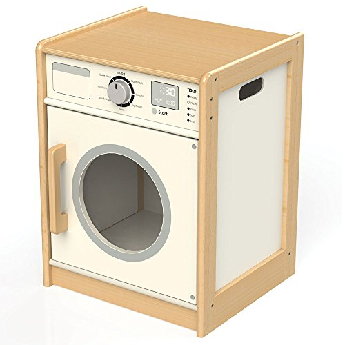 Bigjigs Toys Tidlo T0302 Wooden Washing Machine Play Kitchen Accessories, Multi-Colour