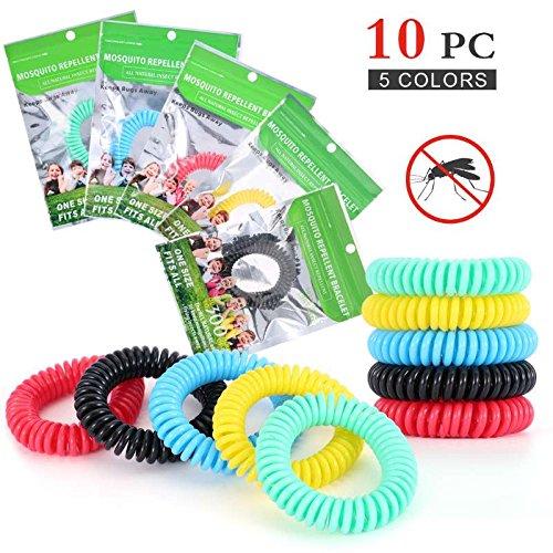 Diswoe bracciale anti-zanzare, 10 pezzi braccialetti anti-zanzare per zanzare per protezione ideale per viaggi esterni (adulti e bambini)