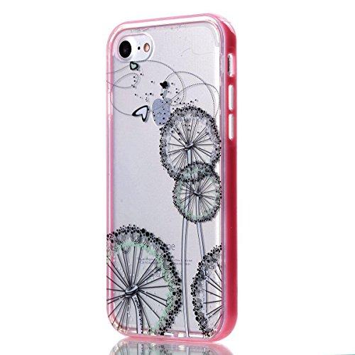"""MOONCASE iPhone 7 Coque, IMD Gel Souple TPU Case Fleur Motif Cover pour iPhone 7 4.7"""" Transparente Housse Antidérapant en Silicone Avec Absorption de Chocs [Butterflies Pattern] Dandelion"""