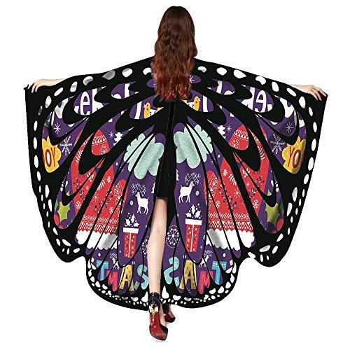 YWLINK Retro 50 er Karneval Schmetterling Umhang Bunt TanzkostüM Damen Cosplay ZubehöR Weihnachten Halloween KostüMe GroßE FlüGel Unisex Bühne Kleidung(168X136CM,A ()