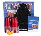 Beer Pong Rack Set inkl. 24 Rote Becher, 3 Bälle, 2 Racks und Regelwerk