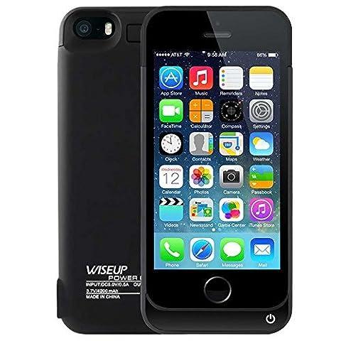 WISEUP 4200mAh Externe Backup Batterie Packung Tragbar Gehäuse Ladegerät Wiederaufladbare Schutz Energien Bank für iPhone 5 5s (schwarz)