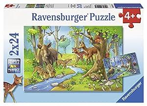 Ravensburger Puzzle 2 x 24 piezas, diseño los animales del bosque (09117 1)
