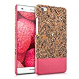kwmobile Hardcase Hülle für Huawei P8 Lite (2015) - Backcover Case Schutzhülle Cover in Recycle Wellen Fläche Design Mehrfarbig Pink Hellbraun