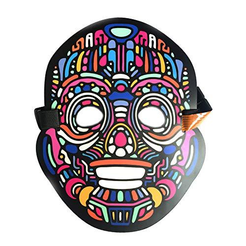 AimdonR Halloween Maske,LED Beleuchtung Soundkontroll,Halloween Scary Cosplay Maske,Leuchtenden EL Draht Grimasse Leuchtmaske,Fest Karneval Christmas Party ()