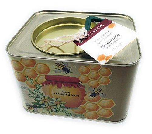 ARISTOS 2kg griechischer Pinien Honig | Thassos Griechenland | kräftiger würziger Geschmack | im 2 KG Kanister | kaltgeschleudert ungefiltert ohne Beimischung | Ernte August 2017 (1x 2 kg) -