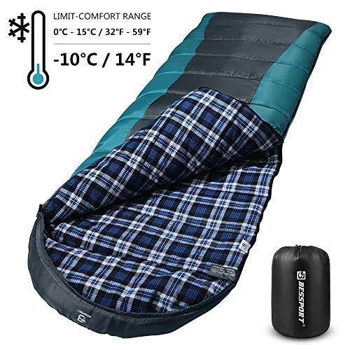 Bessport Schlafsack 3-4 Jahreszeiten Winter | Wasserdichter Deckenschlafsack | 100% Sprüh Gebundene Baumwolle Füllung - für Camping, Reisen und Outdoor (Flannel Lined-Grey)