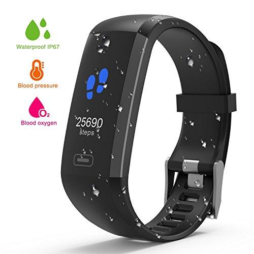 Wasserdichter Aktivitäts-Tracker,Farbdisplay IP67 Fitness Armband Herzfrequenz Blutdruckmessgerät Smart Armband Uhr Pulsmesser Kalorienzähler Schrittzähler Schlafmonitor für Frauen Männer (Schwarz)