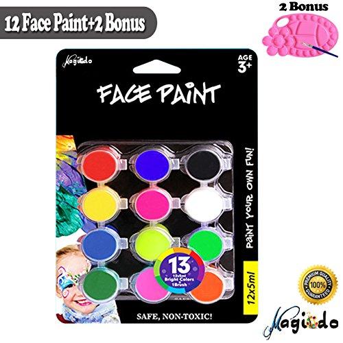 n und Körper malen Set - 10 Farben Gesicht malen mit 1 Palette und 1 Pinsel, ungiftig Gesicht und Körper Kunst Make-up Kit, reiche Pigment Face Painting Set für Erwachsene, Kinder (Gesicht Malen Kit)