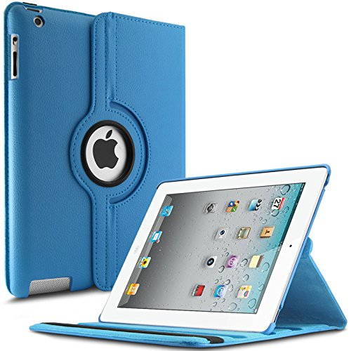 iPad 2 3 4 Hülle,Infiland PU Ledertasche lederhülle 360°Drehbarer Stand Smart Cover Case Schutzhülle Tasche Etui für Apple iPad 2,iPad 3, iPad 4(mit Auto Schlaf / Wach Funktion)(Hellblau)