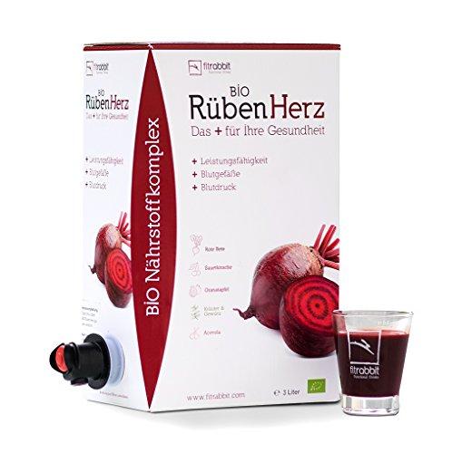 Bio Rüben Herz l Leistungsfähigkeit Blutdruck Blutgefäße I Konzentrierte Rote Beete + Granatapfel + Sauerkirsche + Kräuter&Gewürz + Acerola l 50 Portionen: 3l Bag-in-Box