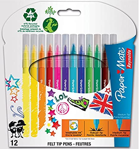 Papermate Feutre Pointe Moyenne Assortiment, Lot de 12
