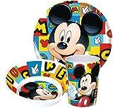 Micky Maus. Stoviglie per bambini, in melanina, con piatto, scodella e bicchiere, soggetto: Mickey Maus (Disney)