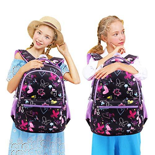 Termichy Mode Kinder Teenager Mädchen Schulrucksack Leichte Schule Tasche Blumen Floral Studenten Rucksack Lässig Daypack Reise Backpack für Schüler Outdoor Freizeit-Lila - 8