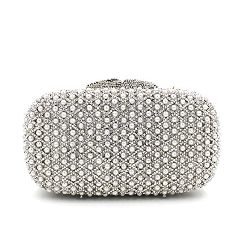 Perlen Abendtasche europäischen und amerikanischen Stil Kristall voller Diamanten Handtasche Silber picture color