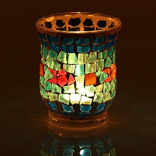 KING DO WAY Handmade Mosaic Glass Candle Holder Light Handle Tealight Candleholder Lantern Lamp Chimney