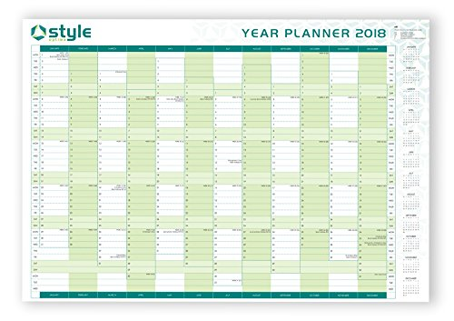 2018 A1 Large Laminated Yearly Wall Planner With Staff Holiday Planner Double Sided Plus Stickers & Pen