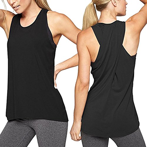 MCYs Damen Sommer Lose Cross Rücken Yoga Shirt ärmellos Workout Oberteile Top Fitness Sport Tank Weste T-Shirt Bluse Crop Top (M, Schwarz)