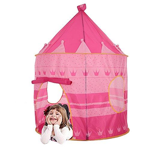 Lixada Prinzessin Zelt/Kinderspielzelt für Drinnen & Draußen, Material: Polyester + Fiberglas, Montagegröße: 105 * 135cm
