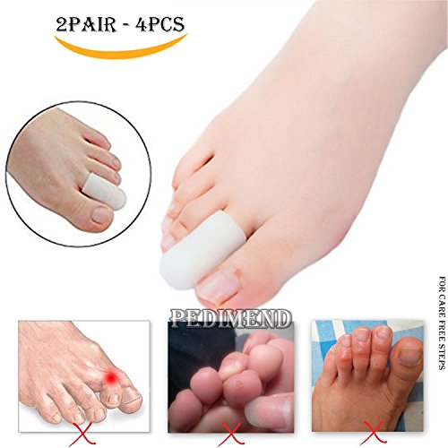 4PCS OF Silicone Gel Finger Sleeves Protector by PEDIMEND™ – Toe Caps Protector – Prevents Callus & Blistering – Prevent Rubbing & Irritation – Corn Remover – Toe Nail Proctors – Foot Care