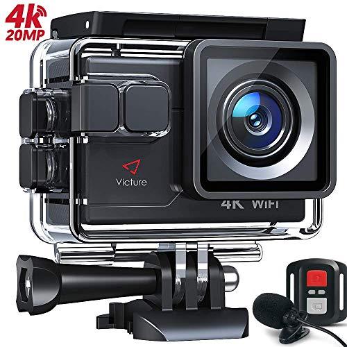 Victure AC600 Action Cam 4K WiFi 16MP Unterwasserkamera wasserdichte 30M Sports Helmkamera mit 2 Verbesserten Batterien und Kostenlosen Zubehör Kits