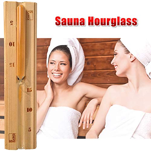 znwiem 15 Minuten Holz Sauna Sanduhr Sanduhr Wanduhr Spa Countdown Uhr Dampfbad Zubehör Dekoration für Zuhause Büro Restaurant, Siehe Abbildung, 11.8 x 2.6 x 1.4 inches