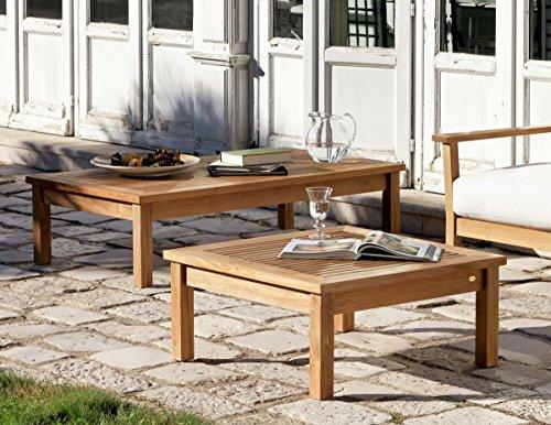Dafnedesign. COM – Paire de Tables de Jardin en Teck – No1 Table Basse Richard rectangulaire cm 140 x 80 de Teck et n ° 1 Table Basse carrée Richard rectangulaire cm 80 x 80 de Teck