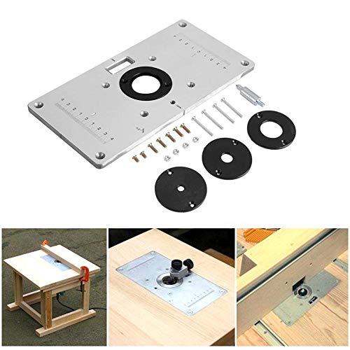 Pawaca - Placa Aluminio Mesa enrutador 4 Anillos Tornillos