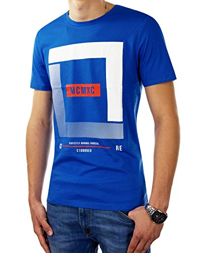 JACK & JONES Herren T-Shirt jcoBOOSTER 4 Tee Print Rundhals Regular Fit Blau (Nautical Blue Fit:REG)