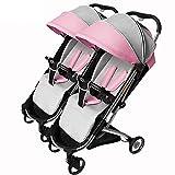 YLET Passeggino Doppio/gemello Adatto dalla Nascita Passeggino Bambino Passeggino Alto Paesaggio può sedersi e sdraiarsi,Pink-OneSize