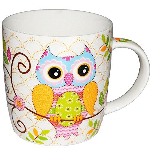 Unbekannt Henkeltasse mit Eule - groß - Keramik / Porzellan - Trinktasse mit Henkel - Tasse Becher - Porzellantasse Eulenmotiv Tassen / Kaffeetasse - Henkeltassen - Ker..