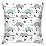 Cute Quirky Armadillo Cactus Woodland Fun Wester Theme Kids Animals Pattern Mint Flannel Decorative Square Pillow Cushion Cover Sofa Home Decor Modern 18 X 18 inch(45 X 45 cm