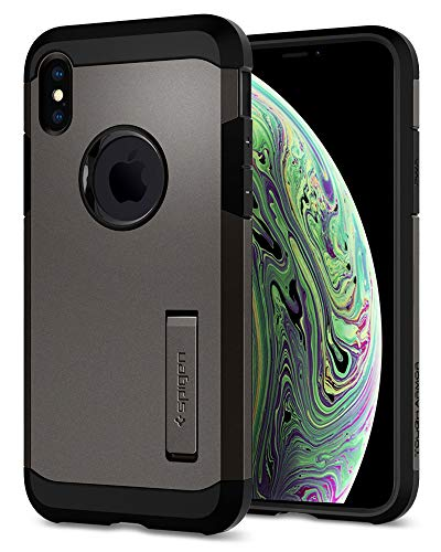 Spigen Tough Armor, Funda Soporte reforzado y protección extrema de Tecnología Air Cushion para Apple iPhone XS y iPhone X, color Gris (Gunmetal)