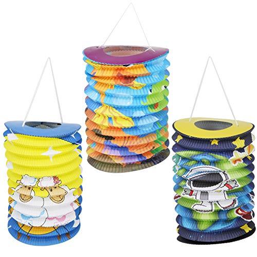 com-four® 3X Kinder Laterne aus Papier in verschiedenen Motiven [Auswahl variiert], Lampion für Kinder, Ø 15 cm (03 Stück - zylinderförmig Mix)