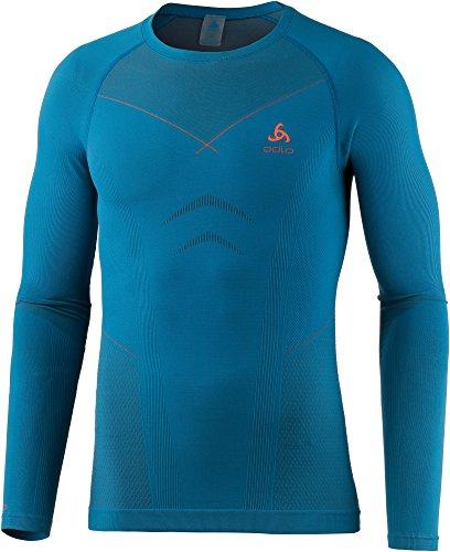 Odlo Herren Skiunterwäsche Unterhemd langarm Funktionsshirt Evolution warm 183132 mykonos blue-orangeade