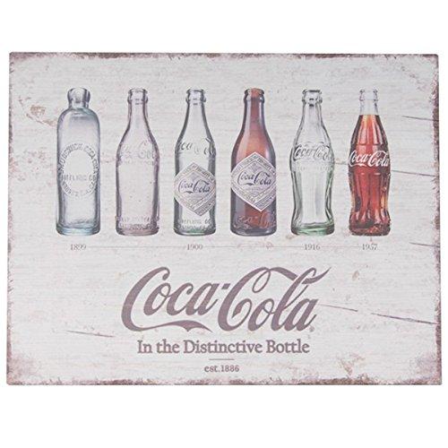 Sunbelt Gifts 4910-272 Holzschild, Motiv: Coca-Cola Evolution Bottles, Mehrfarbig - Schlüsselanhänger Flaschenöffner Cola Coca