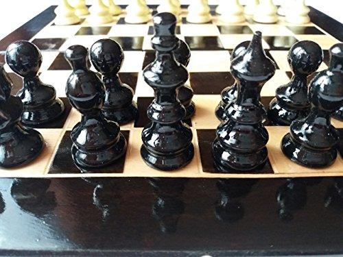 Nueva negro pieza de ajedrez de madera de avellana hermosa hecha a mano, madera de haya 26x26cm caja de ajedrez, juego de ajedrez de viaje de madera