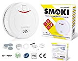 Smoki - Photoelectric Smoke Detector 10 year lithium battery, Magnetic installation (no screws), EN14604, ROHS, NF292, VDS & CE certified (Multi Language Manual)