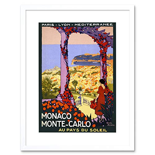 TRAVEL MONTE CARLO MANACO LAND SUN SEA FRANCE VINTAGE ADVERT ART PRINT B12X1630