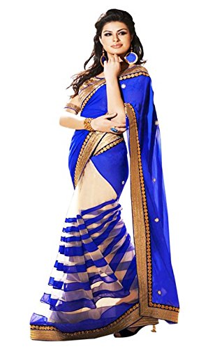 Panchratna Women's Georgette Half and Half Fancy Party Wear Saree with blouse piece  available at amazon for Rs.299