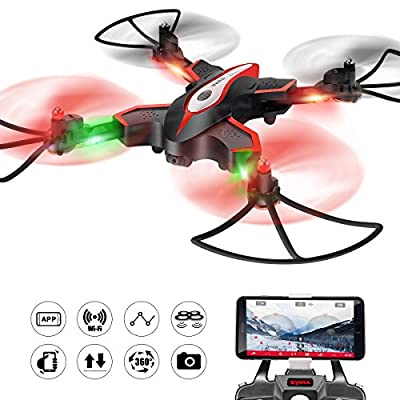 DoDoeleph Foldable Drone Wifi FPV 0.3MP Camera Drone RC Quadcopter with Flight Plan Route App Control Altitude Hold Function RTF Quadcopter from DoDoeleph