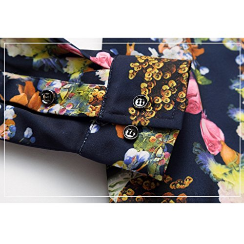 Honghu Herren Sommer Freizeit Slim Fit Langarm Button-down Blumen Printing Hemden Mehrfarbig