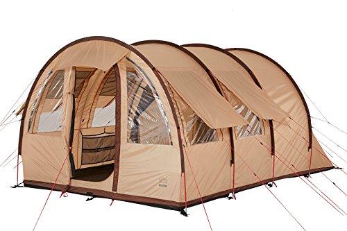 Grand Canyon Helena 3 - Zelt, Tunnel-/ Familienzelt, für 3 Personen, teilbare Schlafkabine, großer Wohnbereich, viele Stauraum, leichter Aufbau, eingenähte Bodenwanne, Camping, beige, 602011