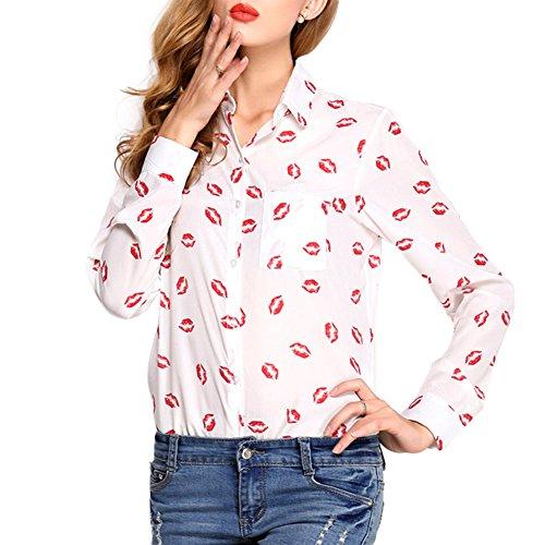 Donne A Stampa Maniche Lunghe Bavero Shirt Delle 0911Rosso